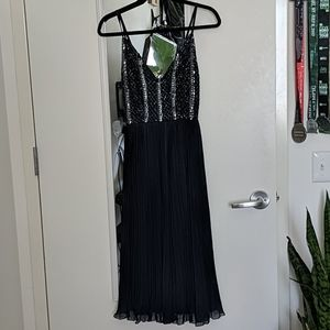 Pleated midi dress with sequin bodice